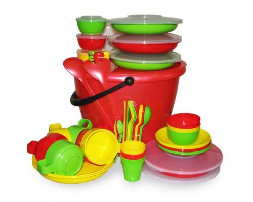 """Набор посуды для пикника на 6 персоны """"Пчелка"""" в футляре"""
